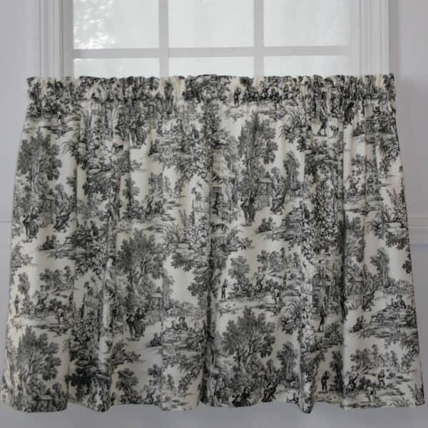 Black Toile Rod Pocket Room Darkening, Black Toile Curtains