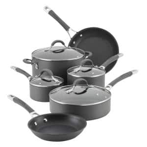 Radiance 10-Piece Hard-Anodized Aluminum Nonstick Cookware Set in Gray