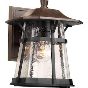 Derby Collection 1-Light Espresso Clear Seeded Glass Craftsman Outdoor Medium Wall Lantern Light