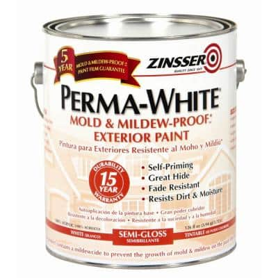 Perma-White 1 Gal. Mold & Mildew-Proof White Semi-Gloss Exterior Paint (4-Pack)