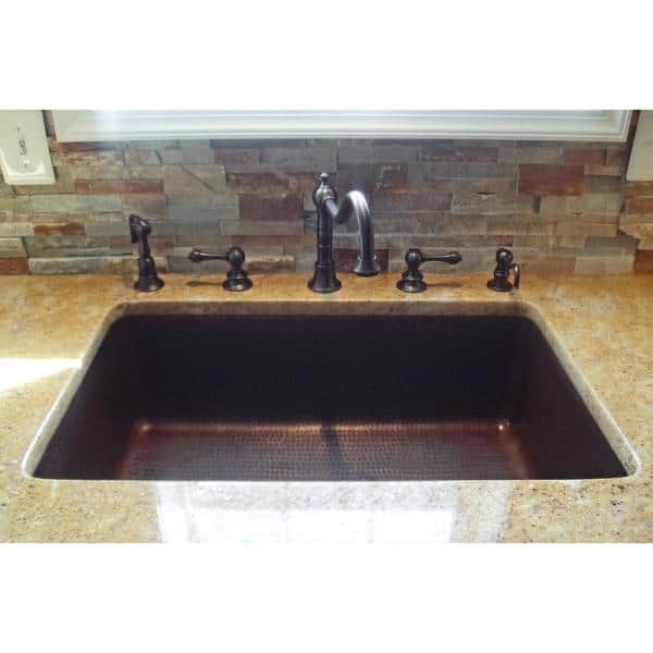 Premier Copper Products Under Counter Surface Drop In Undermount Hammered Copper 30 In 0 Hole Single Bowl Kitchen Sink In Oil Rubbed Bronze Ksdb30199 The Home Depot