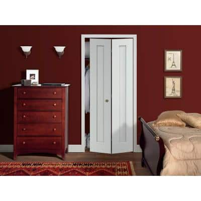 32 in. x 80 in. Madison White Painted Smooth Molded Composite MDF Closet Bi-fold Door