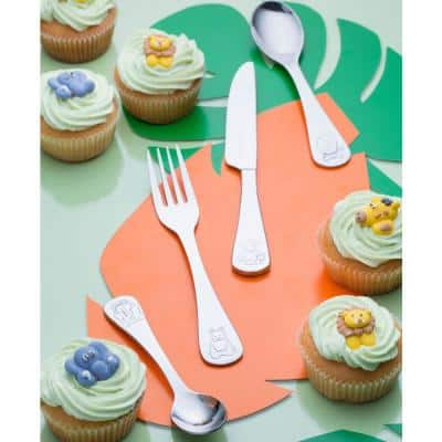 Jungle 4-Piece Stainless Steel Kid's Cutlery Set with Gift Box (Service for 1)