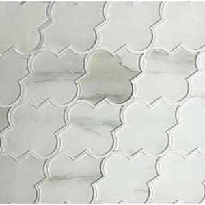 Calacatta White Arabesque Waterjet Mosaic 4 in. x 5.5 in. Glossy Glass Decorative Wall Tile (0.51 Sq. ft.)