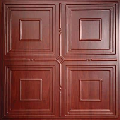 Jackson Faux Wood-Cherry 2 ft. x 2 ft. Lay-in or Glue-up Ceiling Panel (Case of 6)
