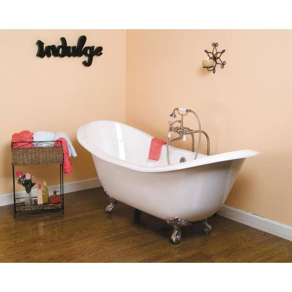 Pegasus 5 9 Ft Cast Iron Lion Paw Feet Double Slipper Tub In White Ctdsn Wh Sn The Home Depot