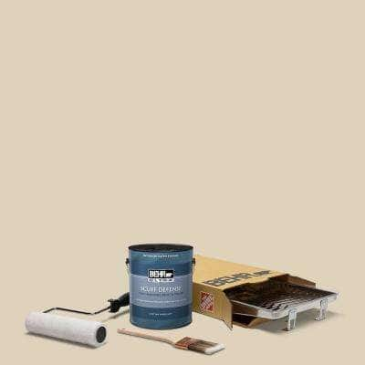1 gal. #PPU4-12 Natural Almond Extra Durable Satin Enamel Interior Paint and 5-Piece Wooster Set All-in-One Project Kit