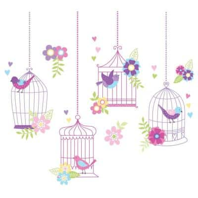 Purple Chirping The Day Away Wall Applique