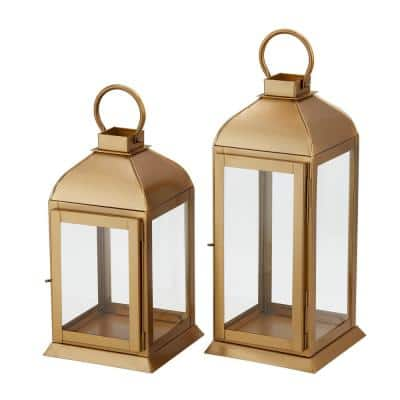 Classic Gold Metal Lantern Candle Holder - Hanging or Tabletop (Set of 2)