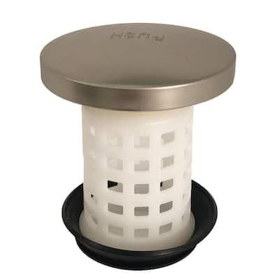 Universal Bathtub Drain Strainer in Brushed Nickel