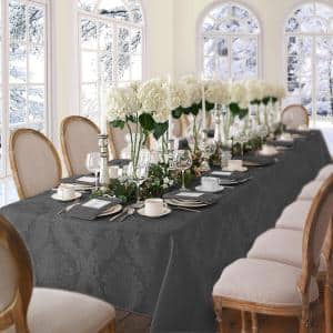 60 in. W x 84 in. L OvaL Gray Barcelona Damask Fabric Tablecloth
