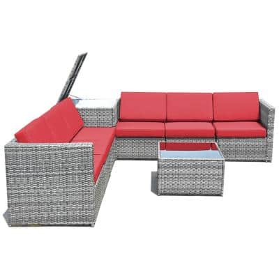 8-Piece Rattan Sofa Sectional Patio Conversation Furniture Set with Red Cushion