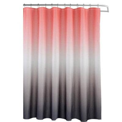 Ombre Coral/Grey 70 in. x 72 in. Texture Printed Shower Curtain Set with Beaded Rings