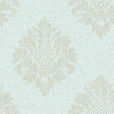 Textured Aqua Damask Wallpaper