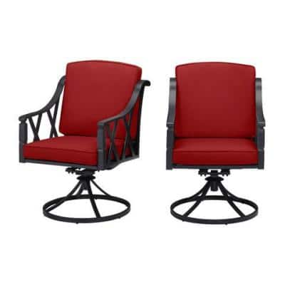 Harmony Hill Black Steel Outdoor Patio Motion Dining Chairs with CushionGuard Chili Red Cushions (2-Pack)