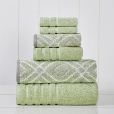 Green 6-Piece Yarn Dyed Towel Set Oxford Sage