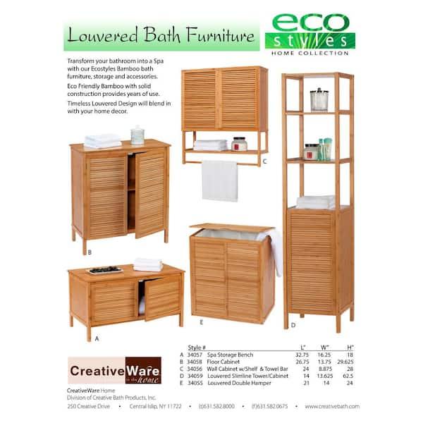 Creativeware Ecostyles Louvered Bamboo, Bamboo Bathroom Wall Cabinet