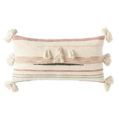 Pink and Brown Striped Kilim Lumber 28 in. x 14 in. Throw Pillow