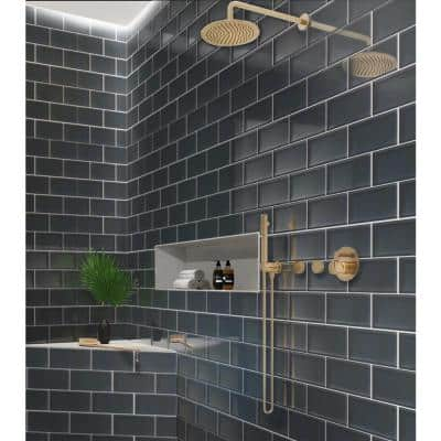 Dark Gray 3 in. x 6 in. Polished Glass Mosaic Tile (5 sq. ft./Case)