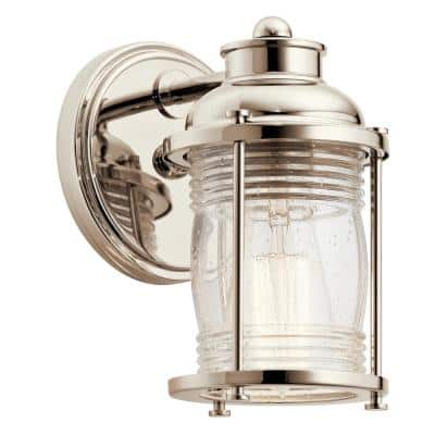 Ashland Bay 1-Light Polished Nickel Vanity Light with Clear Seeded Glass Shade