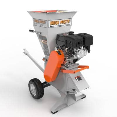 Brush Master 3 in. Dia feed 11 HP 270cc Commercial Duty Gas Chipper Shredder w/ Trailer Hitch, Gloves, Safety Goggles Included