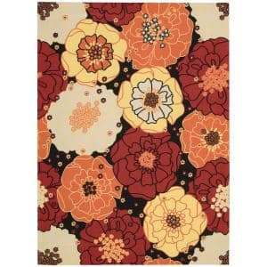 Home and Garden Chrysanthemum Black 8 ft. x 11 ft. Floral Contemporary Indoor/Outdoor Area Rug