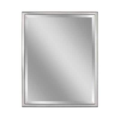 Deco Mirror 30 In W X 40 In H Framed Rectangular Beveled Edge Bathroom Vanity Mirror In Brush Nickel 8021 The Home Depot
