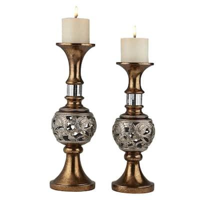 Bronze Langi Polyresin Candleholders (Set of 2)