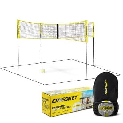 4 Square Volleyball Net and Game Set with Carrying Backpack and Ball