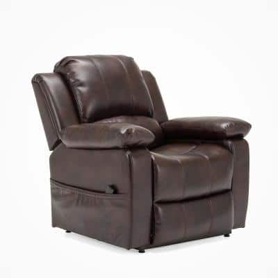 Spence Burnished Brown Faux Leather Lift Chair