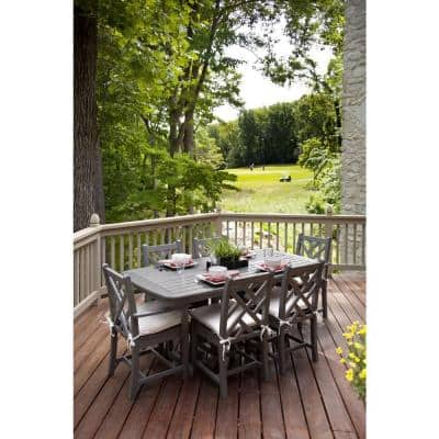 Chippendale Slate Grey 7-Piece Plastic Outdoor Patio Dining Set