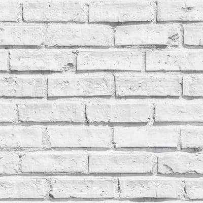 White Brick Paper Non-Pasted Wallpaper Roll (Covers 57.26 Sq. Ft.)