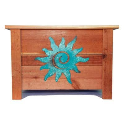 24 in. x 24 in. Redwood Planter with Metal Patina Sun Art