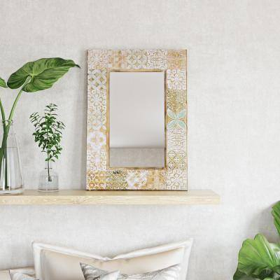 Medium Rectangle Tranquil Tones Of Brown Green And White Modern Mirror (34.5 in. H x 24.5 in. W)