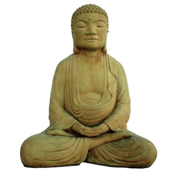 Cast Stone Meditating Buddha Garden Statue Weathered Bronze Gnbdhm Wb The Home Depot