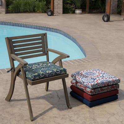 Sapphire Aurora Damask Rectangle Outdoor Seat Pad