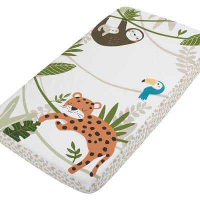 Jungle Gym Green, Brown and Grey 100% Cotton Photo Op Nursery Fitted Crib Sheet