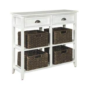 32 in. H White and Brown Wooden Console Sofa Table with Four Woven Storage Baskets