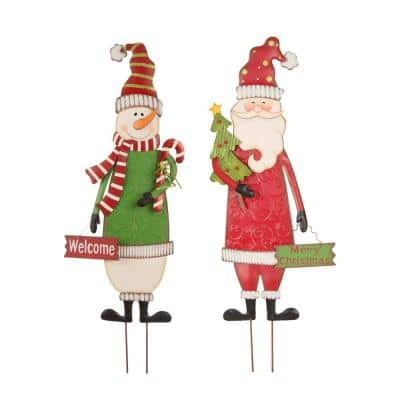 36 in. H Metal Snowman & Santa Christmas Yard Decor Stake or Standing Decor or Wall Decor(Set of 2)