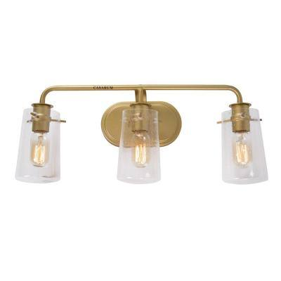 22.5 in. 3-Light Warm Brass Gold Sconces Vanity Light with Clear Seeded Glass Shades