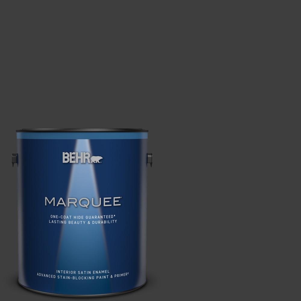 1 gal. #T13-3 Black Lacquer Satin Enamel Interior Paint & Primer
