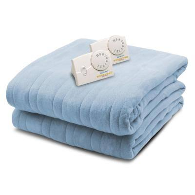 2034 Series Micro Plush Heated 100 in. x 90 in. Arrow Head Blue King Size Blanket