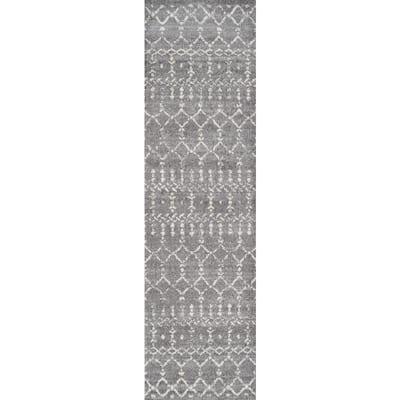 Moroccan Hype Boho Vintage Diamond Gray/Ivory 2 ft. x 10 ft. Runner Rug