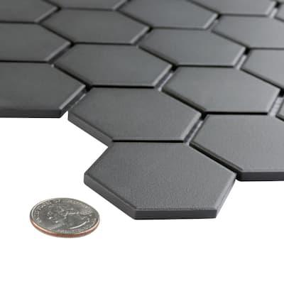 Gotham 2 in. Hex Black 11 in. x 12-5/8 in. Unglazed Porcelain Mosaic (9.96 sq. ft./Case)