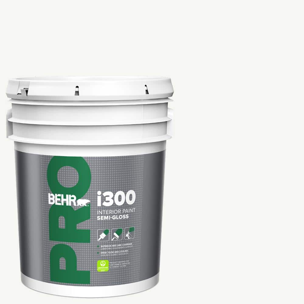 Behr Pro 5 Gal I300 White Semi Gloss Interior Paint Pr37005 The Home Depot