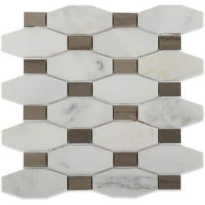 Diapson Asian Statuary and Athens Gray 9.75 in. x 10 in. Polished Marble Mosaic Tile (0.67 sq. ft./Sheet)
