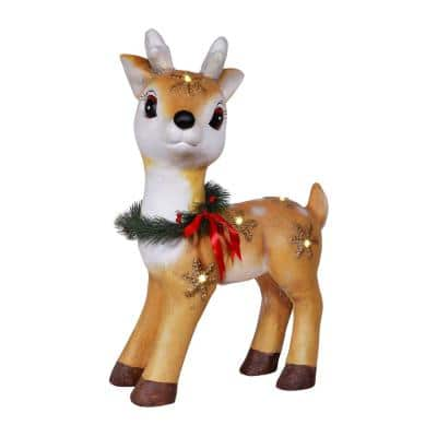 23 in. Tall Vintage Christmas Reindeer with Warm White LED Lights