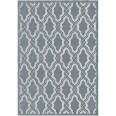 My Texas House Cotton Blossom Blue 8 ft. x 11 ft. Indoor/Outdoor Area Rug
