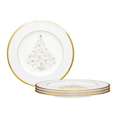 Palace Christmas 8.5 in. Gold White Bone Set of 4 Holiday Accent Plates
