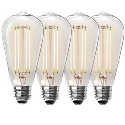 100-Watt Equivalent ST19 Dimmable Straight Filament Clear Glass Vintage Edison LED Light Bulb, Soft White (4-Pack)
